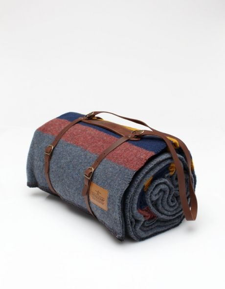 Grey Camp Blanket with Carrier