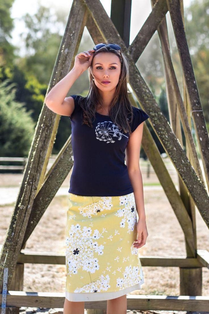 Blossom Tee in Navy, Fields of Gold Reversible Skirt