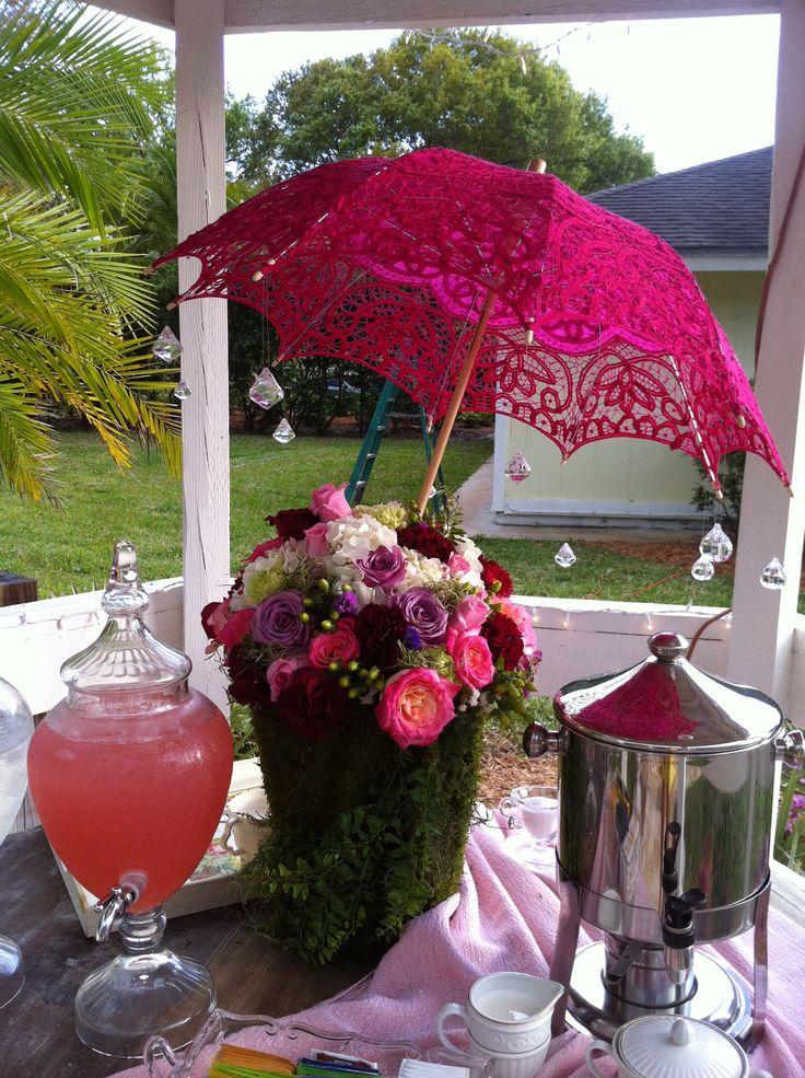 Garden tea party themed decor for bridal shower.