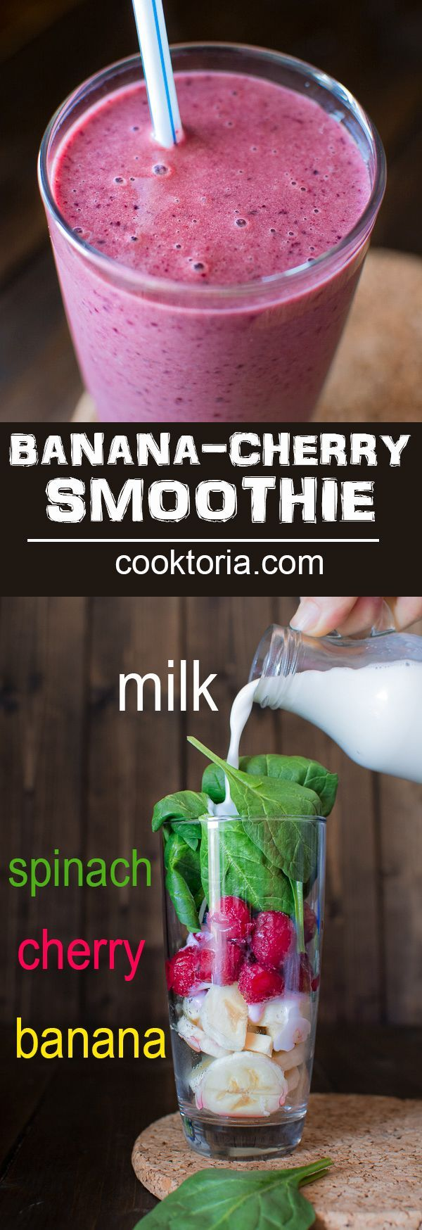 You're 5 minutes and 4 ingredients away from this refreshing and healthy Cherry Spinach Smoothie. It makes a perfect breakfast or mid-day snack! ❤ http://COOKTORIA.COM