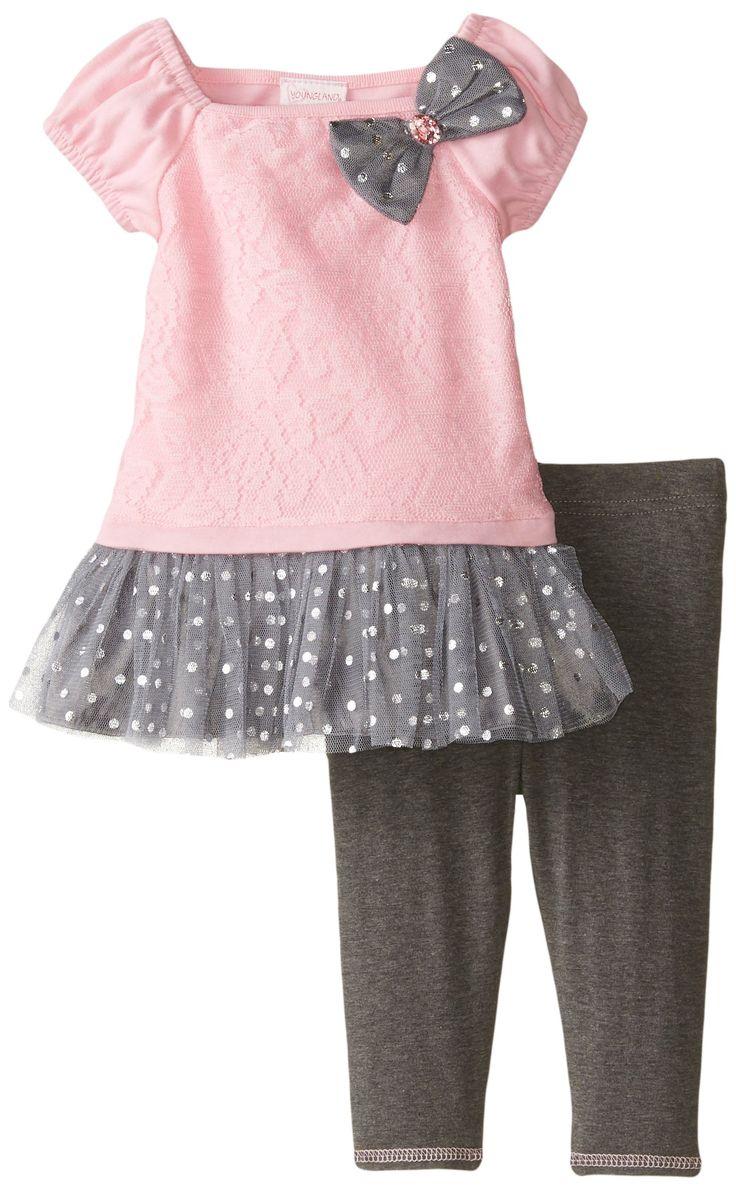 Youngland Baby Girls' Pink Floral To Grey Dot Legging Set, Pink/Grey, 18 Months