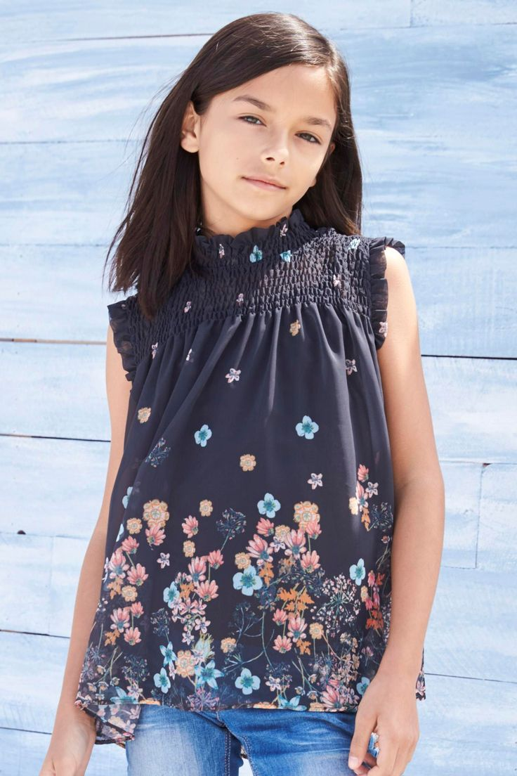 Charcoal Charcoal Floral High Neck Blouse for Girls (3-14yrs) from the Next UK online shop