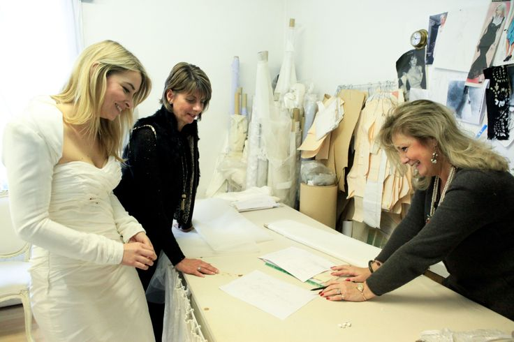Designer Anita Massarella, and ITV Emmerdale's Costume Designer Sue Sheehan Dare, creating the bridal gown for Emma Atkins as 'Charity'.