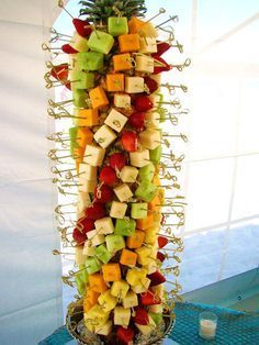 Fruit & cheese tree served during cocktail hour