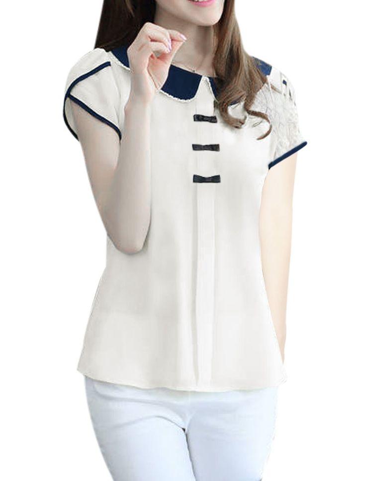 Allegra K Women Peter Pan Collar Pullover Design Button Decor Back Sweet Blouse at Amazon Women's Clothing store: