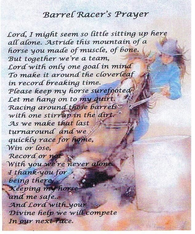 I think that the Brandon eq. team should say this prayer before we run to keep us and our horses safe.