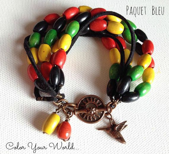 Reggae style bohemian bracelet. Wooden beads and  by PaquetBleu
