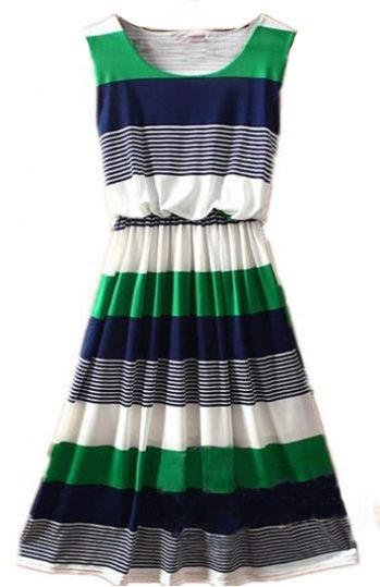 green blue and white - perfect dress for summer.