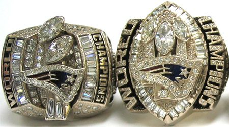 Super Bowl XXXVIII and XXIX rings of the Patriots, who first ...