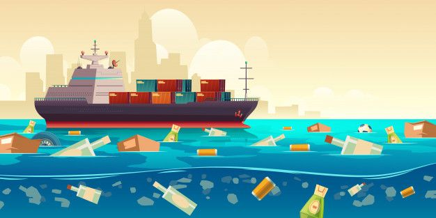 Download Ocean Plastic Garbage Pollution With Ship Illustration For Free Garbage Pollution Pollution Vector Free