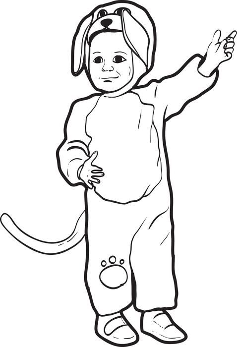 Free Printable Halloween Coloring Page For Kids Of A Little Boy In Puppy Dog