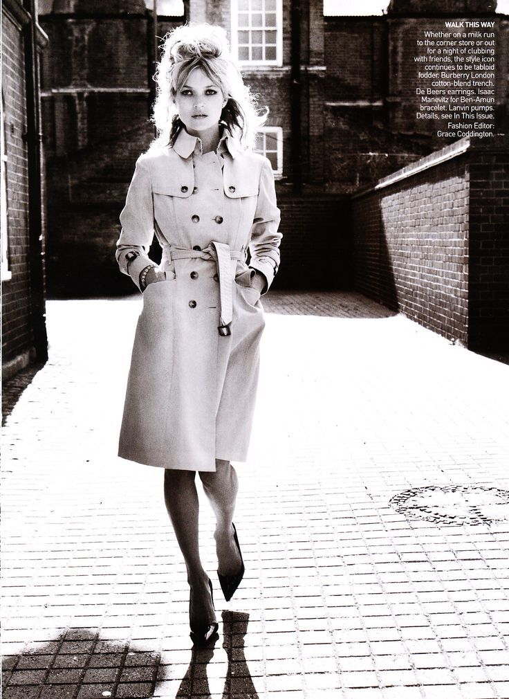 The Look: Kate Moss channeling Bardot in a trench for Vogue's August 2008 issue, shot by Mario Testino.