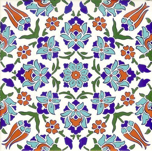 """Set of 4 Turkish Tiles by Tribalhome. $35.00. Traditional Turkish Tiles. set of 4 tiles. Measurement: 8""""x8""""x0.25"""" thick. Fast Shipping. Set of 4 Turkish tiles. One tile measures 8""""x8"""". You are getting beautiful 4 tiles.. Save 56% Off!"""