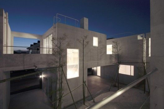 Constructed solely out of concrete this design by Ikimono Architects serves as a multi-family dwelling