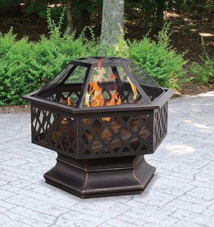 Hexagon Outdoor Fire Pit Backyard Wood Burn Fireplace Lattice Bowl 24 In Bronze #HexagonOutdoorFirePit