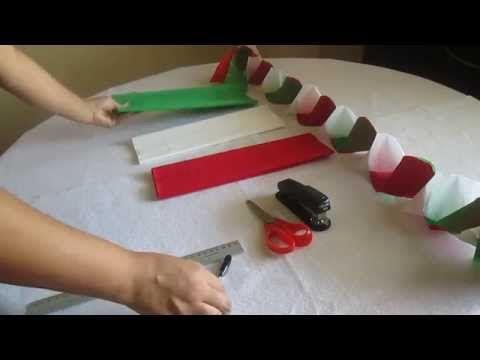 Como hacer cadenas con papel crepe - YouTube