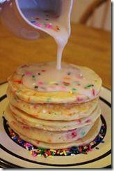Cake Batter Pancakes.  Birthday tradition