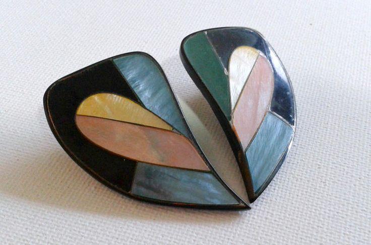 Big multi-coloured earrings, 80s earrings, large multi colour earrings, 80s stud earrings by ChasAndVivVintage on Etsy
