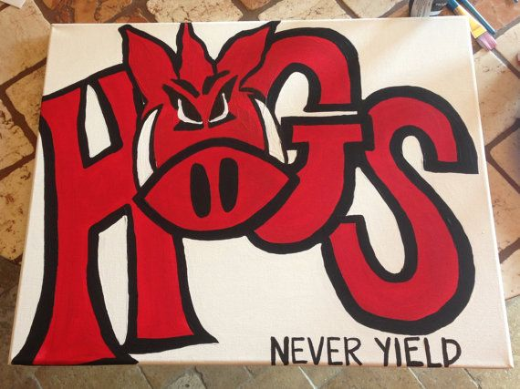 Arkansas Razorbacks Canvas Go Hogs Never by foursevenninecreated, $45.00