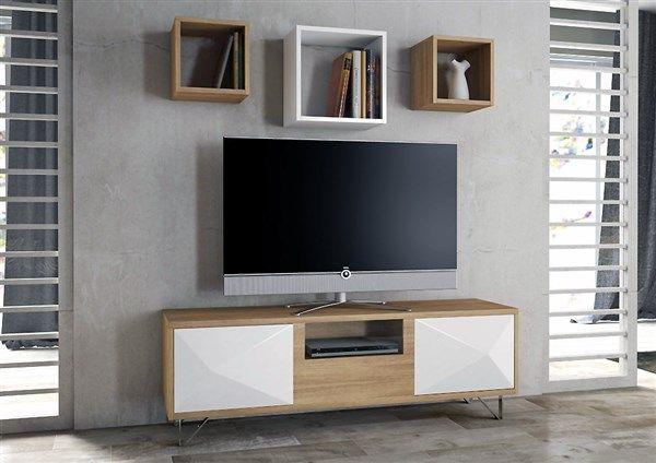 Composición Compuesta Por Mesa Tv Y Tres Cubos Colgados Muebles Para Tv Mesas Para Tv Tv