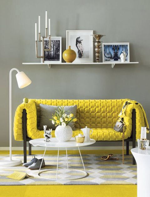 One of 9 Surprising Color Combinations We Bet You Haven't Thought Of via @PureWow - GREY AND YELLOW (=)