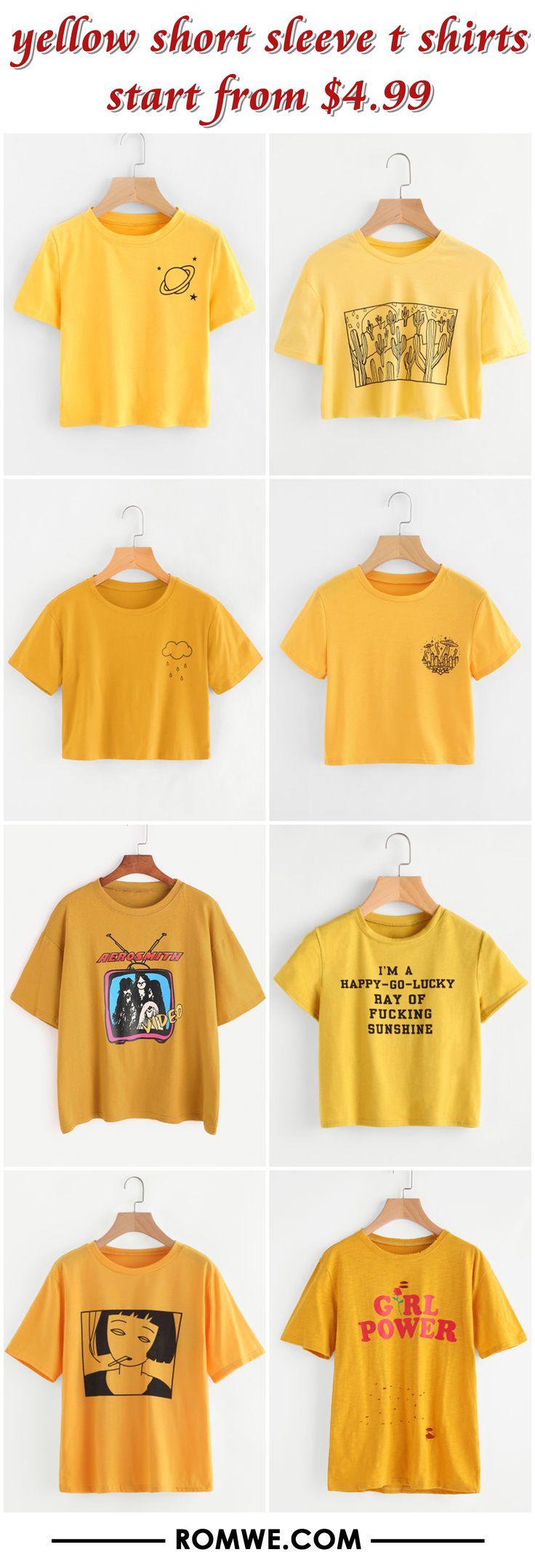young yellow t shirts 2017 - romwe.com