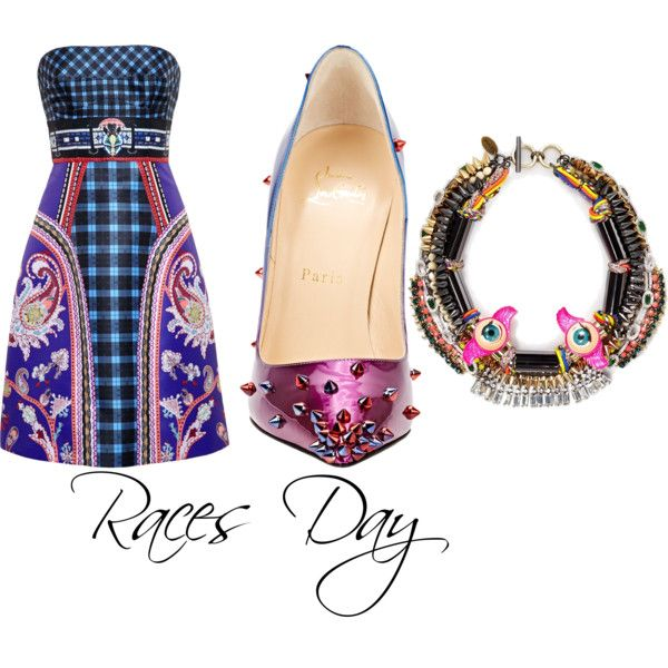 At the Races...Spring style by gonnadressyouup on Polyvore featuring polyvore, fashion, style, Mary Katrantzou, Christian Louboutin and Venna
