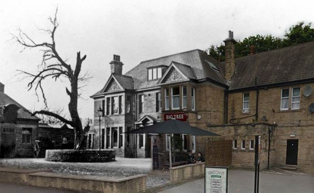 Big Tree Pub, Chesterfield Road, Woodseats. Not sure of the year? Original Image from Picture Sheffield, blended with modern shot from Google Street View.