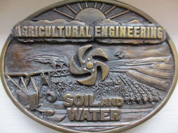 Vintage Agricultural Engineering Brass Belt Buckle