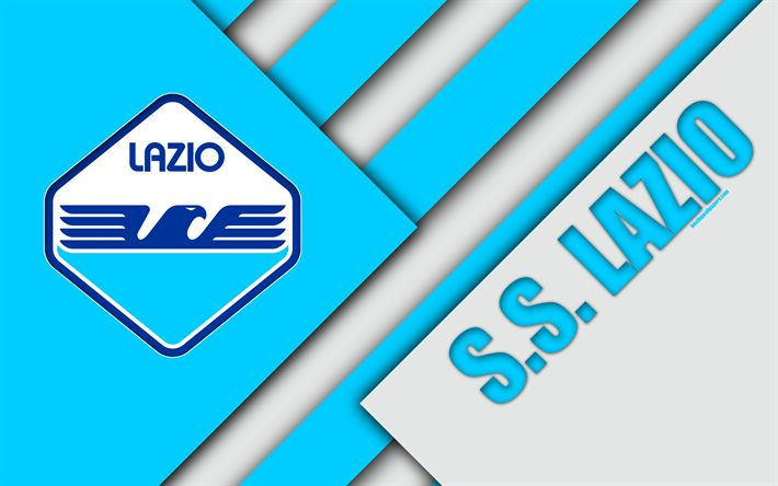 Download wallpapers Lazio FC, new logo, new emblem, 4k, material design, football, Serie A, Rome, Italy, blue white abstraction, Italian football club, SS Lazio