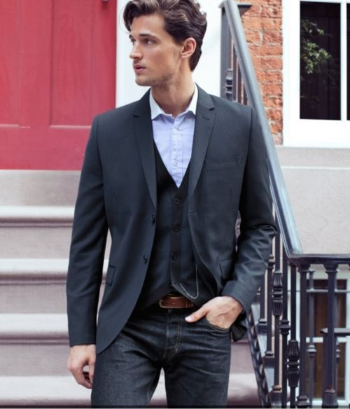 Shop this look for $163:  http://lookastic.com/men/looks/cardigan-and-blazer-and-belt-and-longsleeve-shirt-and-jeans/1688  — Navy Cardigan  — Navy Blazer  — Brown Leather Belt  — Light Blue Longsleeve Shirt  — Navy Jeans