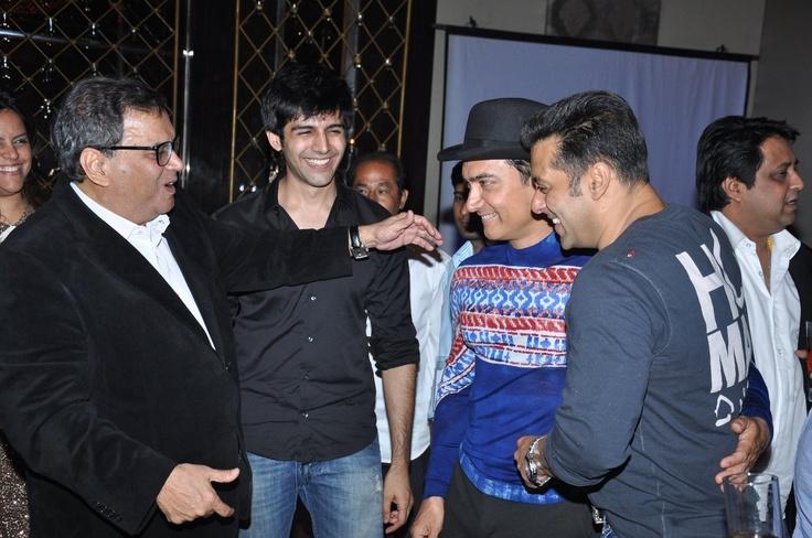 Subhash Ghai with Salman Khan ,Amir Khan and Kartik Tiwari