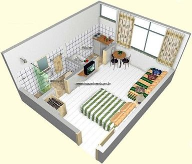 Simple Studio Apartment Idea - ideas for when I move for grad school :)