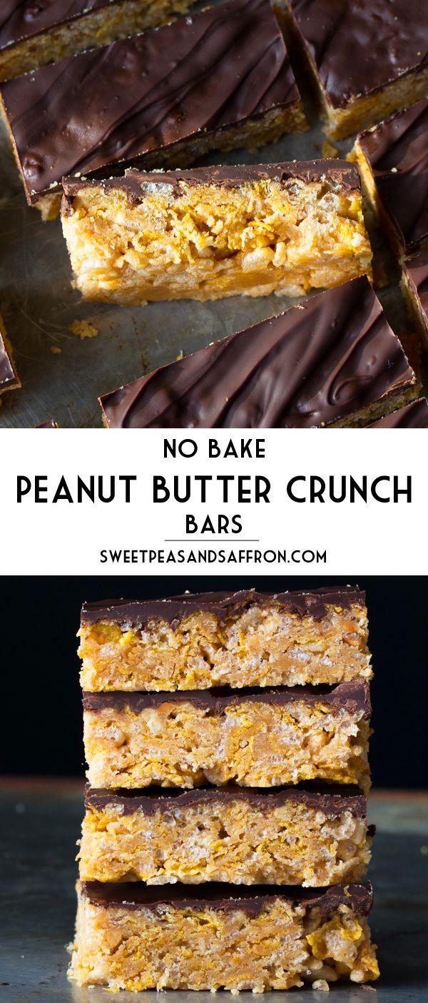 No-Bake Peanut Butter Crunch Cereal Bars- 6 ingredients, 20 minutes, no oven! sweetpeasandsaffron.com @necie83