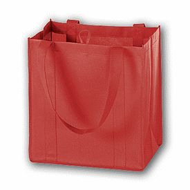 "Red Unprinted Non-Woven Market Bags, 12 x 8 x 13""  100/ $145"