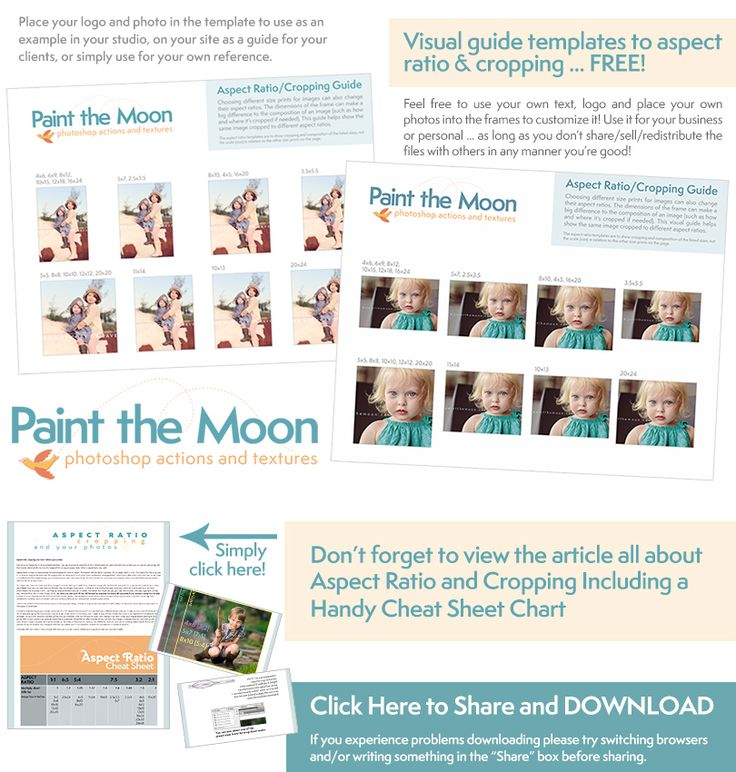 Free Guide Templates to Aspect Ratio and Cropping for Photographers from Paint the Moon Photoshop Actions