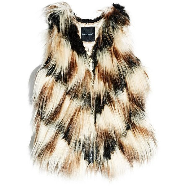 GUESS by Marciano Striped Faux Fur Vest ($69) ❤ liked on Polyvore featuring outerwear, vests, jackets, brown, fake fur vest, striped vest, brown waistcoat, vest waistcoat and faux fur waistcoat