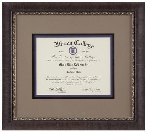 Artists Frame Service | Diploma in triple mat to highlight school colors and grey veneer frame with silver vintage accent.