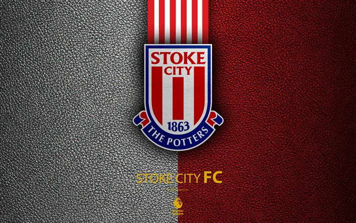 Download wallpapers Stoke City FC, FC, 4K, English Football Club, leather texture, Premier League, logo, emblem, Stoke-on-Trent, England, United Kingdom, football