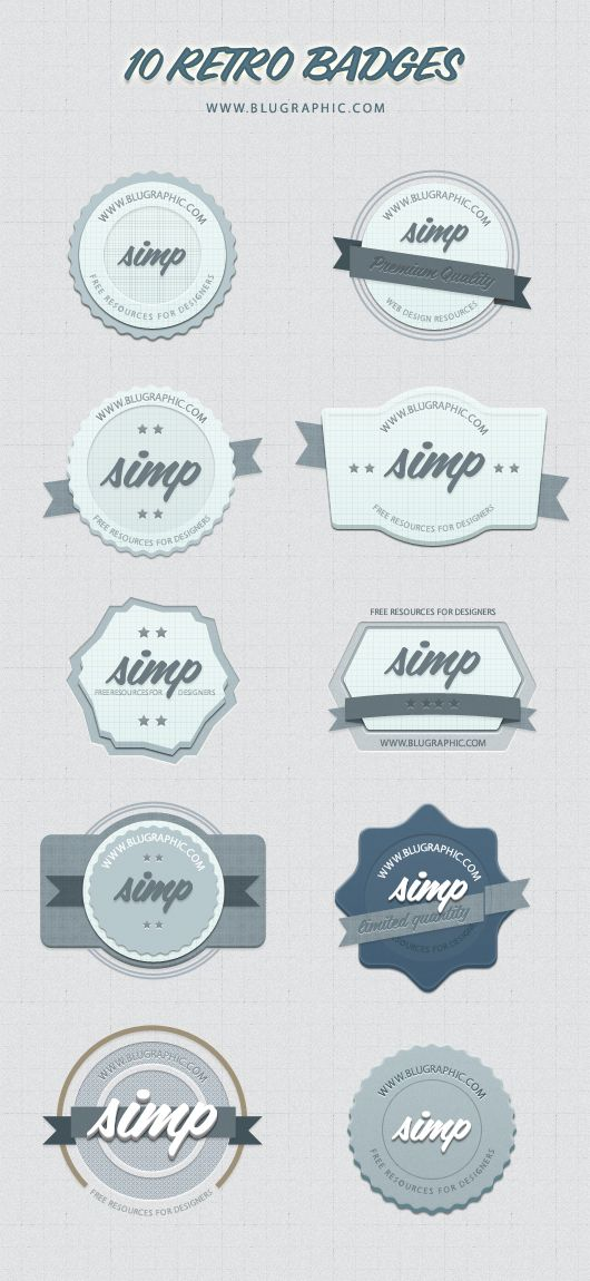 10 Free Retro Badges - Psd Shapes