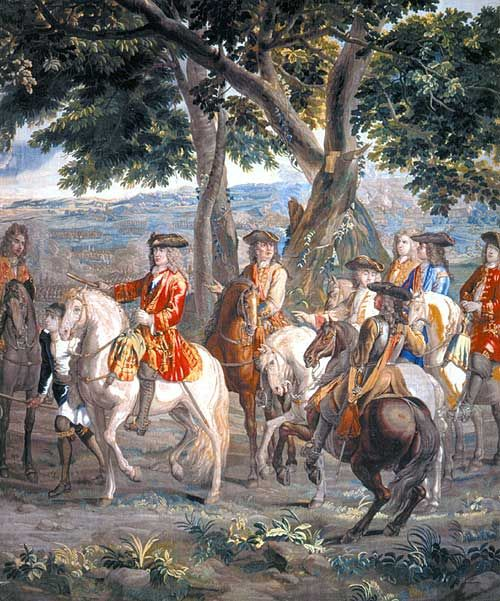 The Duke of Marlborough at the Battle of Blenheim  (scene from the tapestry at Blenheim Palace)
