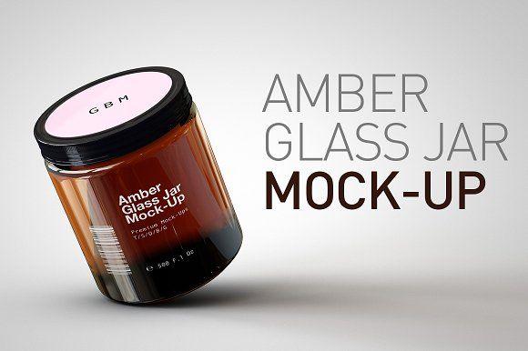 Amber Glass Jar Mock-Up by TSOBG on @creativemarket