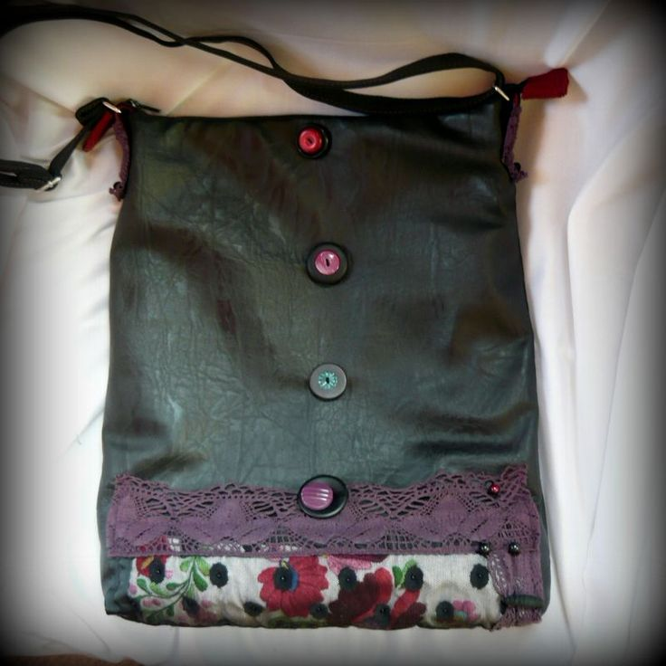 Handmade by Judy Majoros - Kalocsai Embroidery - Hungarian polka dots crossbody bag-shoulder bag. Recycled bag. Polka dots tulle-black textile leather.beaded.