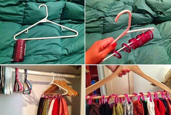 com argolas de cortina, para lenços e encharpes