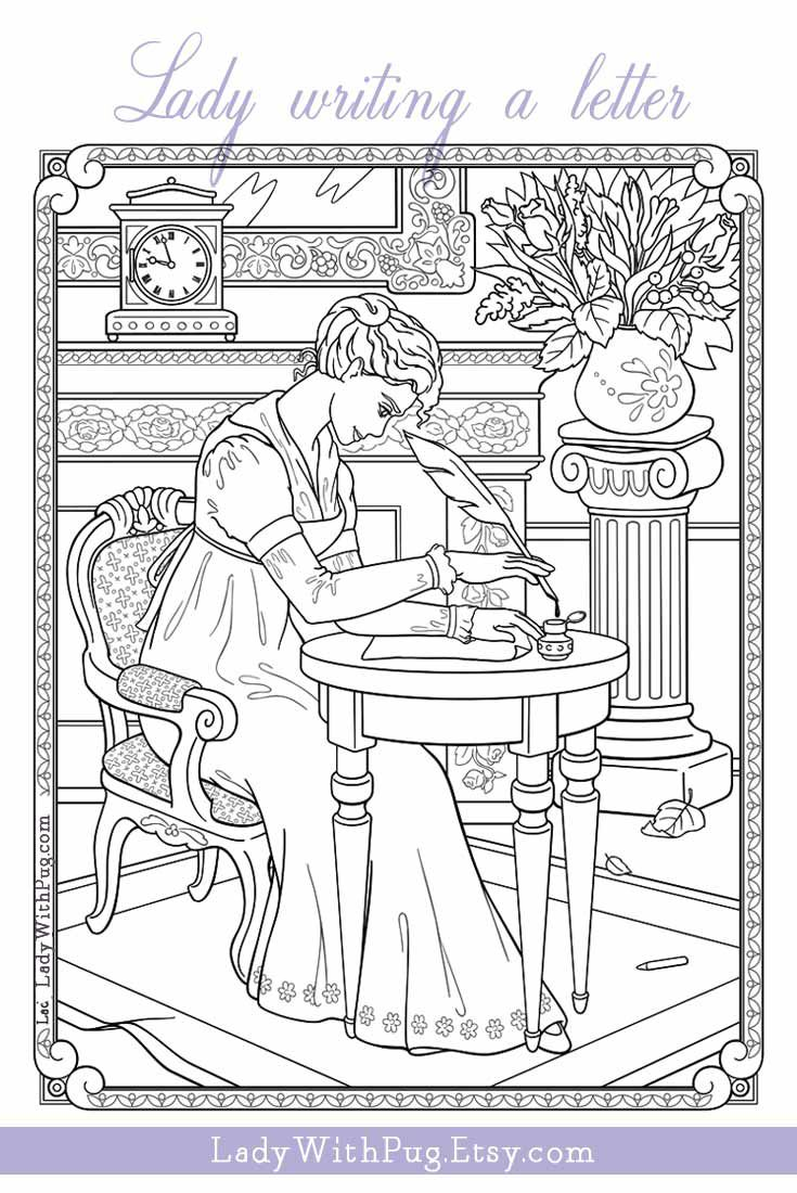 Adult Coloring Page Lady Writing A Letter Line Art Illustration