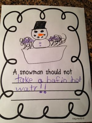 "Class Book, ""Things a Snowman Should NOT Do"" to Go With Book, Sneezy the Snowman by Maureen Wright (from Mrs Jump's Class). This could go with any snowman book, and become a bulletin board for winter library decorations!"