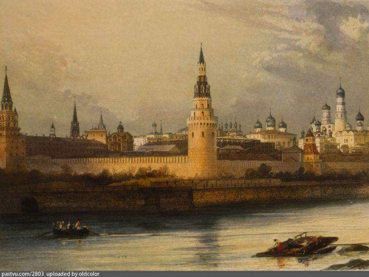 The oldest of the known photos of Moscow. 1842. On the images is the beginning of the Big Kremlin Palace construction.