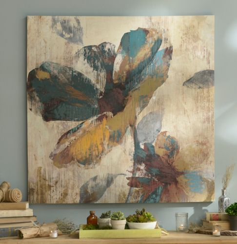 Abstract Aqua Amp Brown Floral Canvas Art Print Brown
