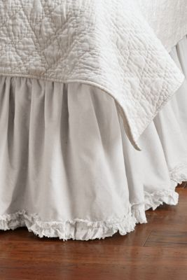 Ruffle Bedskirt - Ruffled Queen Bedskirt, Ruffled King Bedskirt | Soft Surroundings Guest room under the existing long spread,  I hate to pull the spread back and have exposed mattress