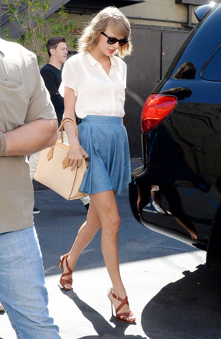 In a Lucca Couture chambray skirt while getting lunch with Jaime King at Sugarfish Sushi restaurant in Beverly Hills.   - ELLE.com